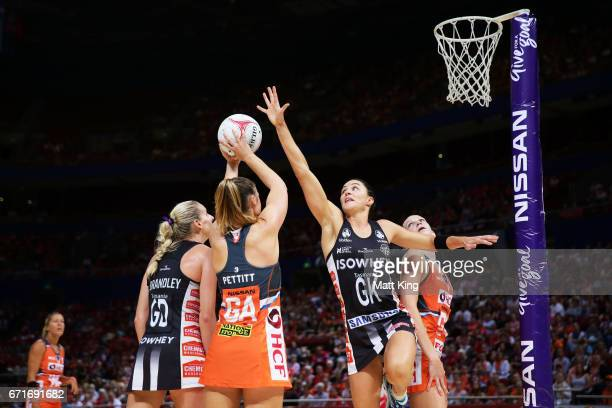 Sharni Layton of the Magpies defends during the round nine Super Netball match between the Giants and the Magpies at Qudos Bank Arena on April 23...