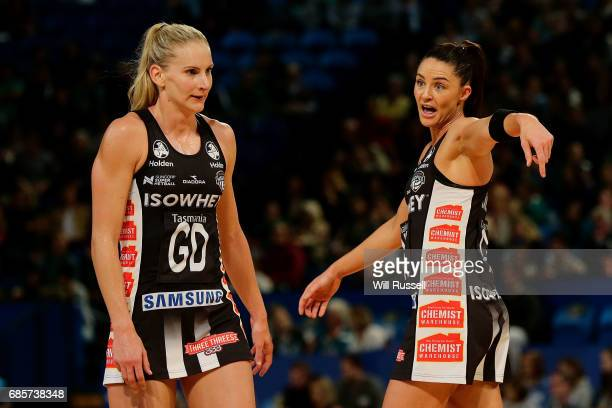 Sharni Layton of the Magpies gives advice to April Brandley of the Magpies during the round 13 Super Netball match between the Fever and the Magpies...