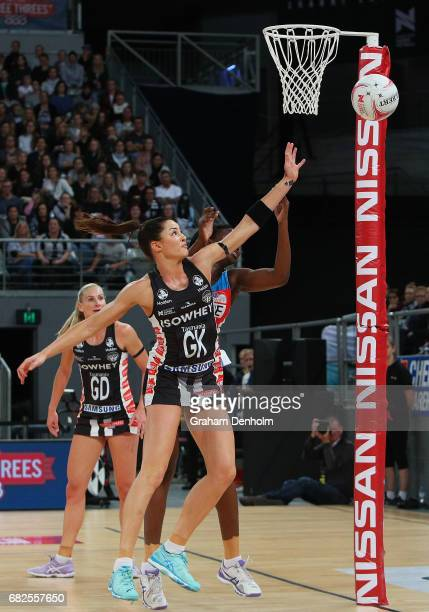 Sharni Layton of the Magpies in defence during the round 12 Super Netball match between the Magpies and the Swifts at Hisense Arena on May 13 2017 in...