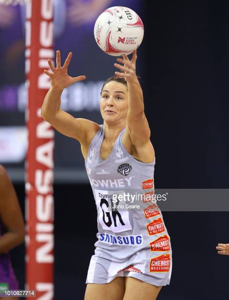 Sharni Layton of the Magpies intercepts the ball during the round 14 Super Netball match between the Firebirds and the Magpies at the Brisbane...