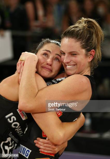 Sharni Layton of the Magpies is embraced by Shae Brown of the Magpies after Layton played her final home game after the round 13 Super Rugby match...