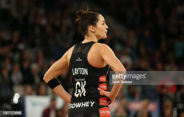 Sharni Layton of the Magpies looks on during the round 13 Super Rugby match between the Magpies and the Giants at Hisense Arena on July 29 2018 in...