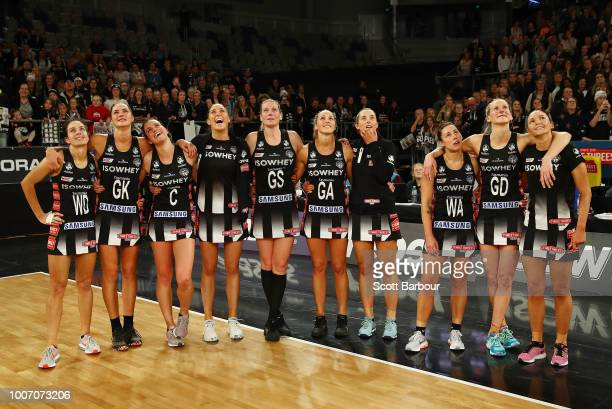 Sharni Layton of the Magpies looks on with her teammates after she played her final home match during the round 13 Super Rugby match between the...
