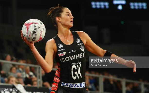 Sharni Layton of the Magpies passes the ball during the round 13 Super Rugby match between the Magpies and the Giants at Hisense Arena on July 29...