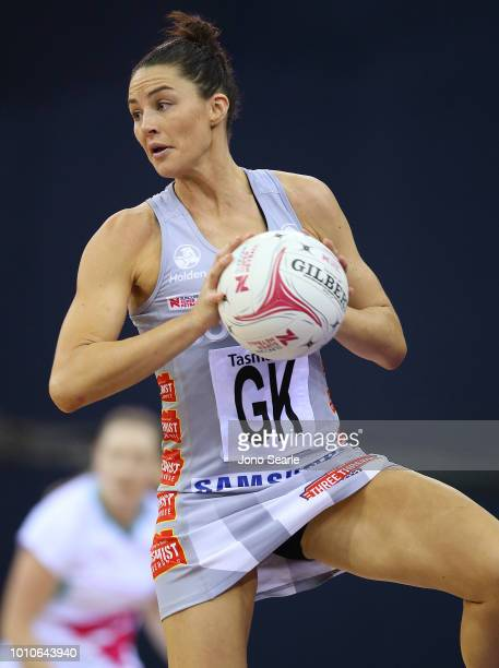 Sharni Layton of the Magpies passes the ball during the round 14 Super Netball match between the Firebirds and the Magpies at the Brisbane...