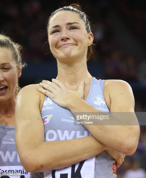 Sharni Layton of the Magpies shows emotion at the end of her final game before retirement after the round 14 Super Netball match between the...