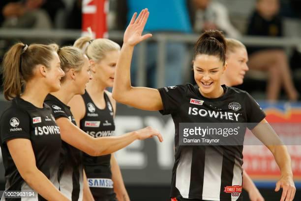 Paige Hadley of the Swifts passes the ball during the round 12 Super Netball match between the Magpies and the Swifts at Hisense Arena on July 21...
