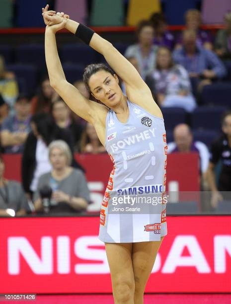Sharni Layton of the Magpies warms up before the round 14 Super Netball match between the Firebirds and the Magpies at the Brisbane Entertainment...
