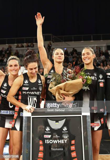 Sharni Layton of the Magpies waves to supporters in the crowd after she played her final home match during the round 13 Super Rugby match between the...