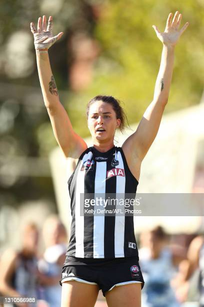 Sharni Norder of the Magpies defends during the AFLW Finals Series match between the Collingwood Magpies and the North Melbourne Kangaroos at...