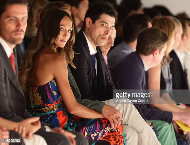 Sharni Vison and Alessandro Gassman attend the Salvatore Ferragamo show as part of Milan Fashion Week Menswear Spring/Summer 2013 on June 24 2012 in...
