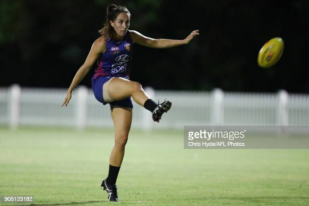 Sharni Webb kicks during a Brisbane Lions AFL training session at Leyshon Park on January 15 2018 in Brisbane Australia