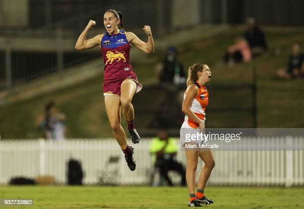 Sharni Webb of the Lions celebrates after kicking a goal during the round seven AFLW match between the Greater Western Sydney Giants and the Brisbane...