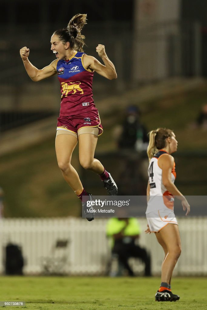 Sharni Webb of the Lions celebrates after kicking a goal during the round seven AFLW match between the Greater Western Sydney Giants and the Brisbane Lions at Blacktown International Sportspark on March 16, 2018 in Sydney, Australia.