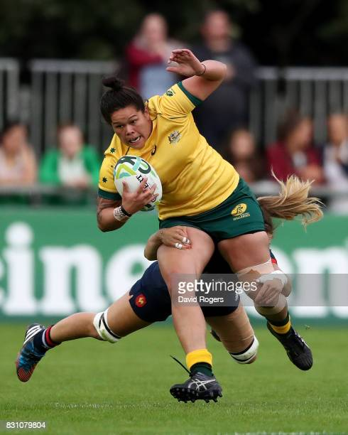 Sharni Williams of Australia is tackled by Marjorie Mayans of France during the Women's Rugby World Cup 2017 match between France and Australia on...
