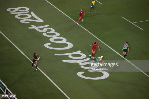 Sharni Williams of Australia scores a try in the Womens game between Australia and Wales during Rugby Sevens on day nine of the Gold Coast 2018...