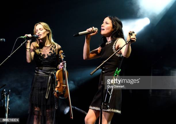 Sharon and Andrea Corr of The Corrs performs on stage at the Royal Albert Hall on October 19 in London England