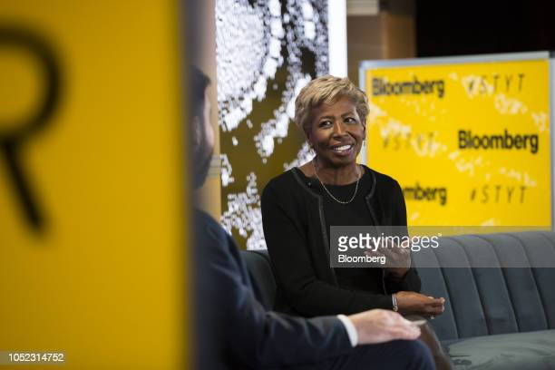 Sharon Bowen former commissioner of the US Commodity Futures Trading Commission speaks during the Sooner Than You Think conference in the Brooklyn...