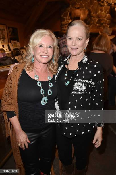 Sharon Bush and Anne Hearst McInerney attend Hearst Castle Preservation Foundation Annual Benefit Weekend Hearst Ranch Patron Cowboy Cookout at...