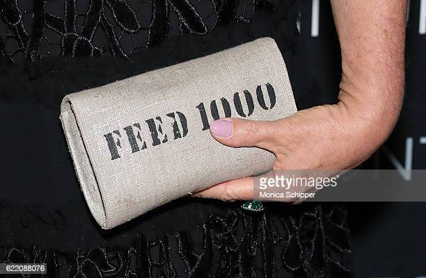 Sharon Bush purse detail attends the 2016 New York Art Antique Jewelry Show FEED Preview Party at Pier 94 on November 9 2016 in New York City