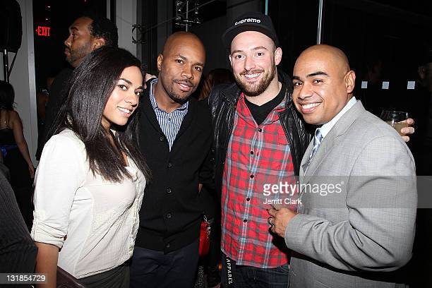 Sharon Carpenter DJ DNice Alex Masnyk and Paul Estevez attend a Hennessey Black party to celebrate DJ DNice signing to Roc Nation DJ's at The Cooper...