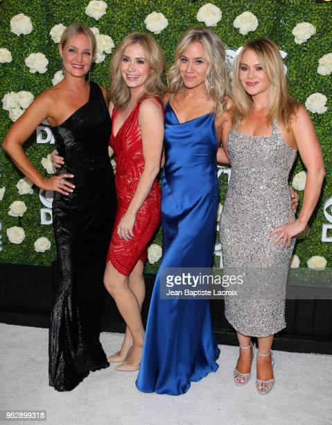 Sharon Case Ashley Jones and cast members attend the CBS Daytime Emmy After Party on April 29 2018 in Pasadena California