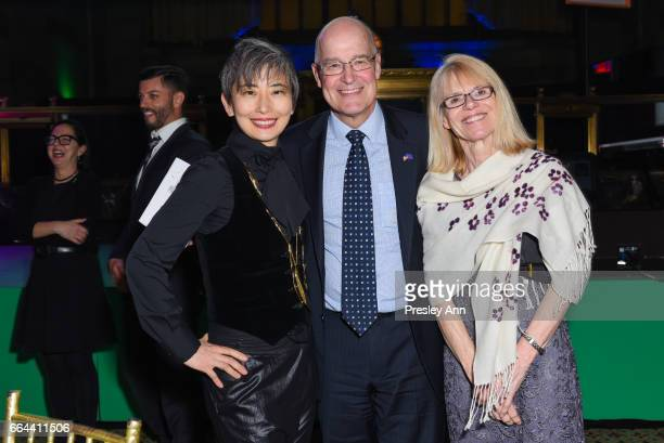 Sharon Chang Andrew Hamilton and Jennie Hamilton attend Tisch School Gala 2017 at Cipriani 42nd Street on April 3 2017 in New York City