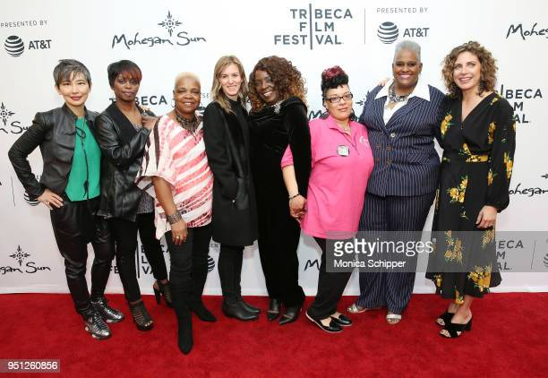 Sharon Chang Diana Ellis Bobbie Woods Madeleine Sackler Dorothy Tanksley Loria Perez Jacqueline Henderson and Stacey Reiss attend the screening of...
