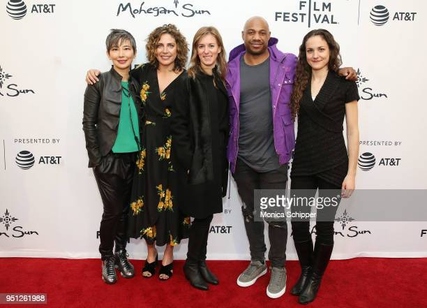 Sharon Chang Stacey Reiss Madeleine Sackler Kareem Biggs Burke and Leigh Johnson attend the screening of It's A Hard Truth Ain't It during the 2018...