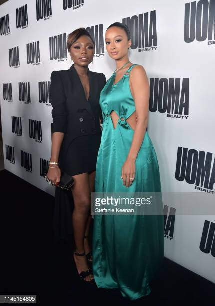 Sharon Chuter and Draya Michele attend UOMA Beauty Launch Event at NeueHouse Hollywood on April 25 2019 in Los Angeles California