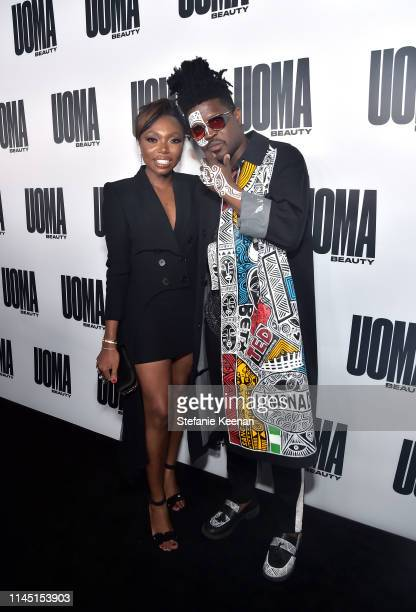 Sharon Chuter and Laolu Senbanjo attend UOMA Beauty Launch Event at NeueHouse Hollywood on April 25 2019 in Los Angeles California