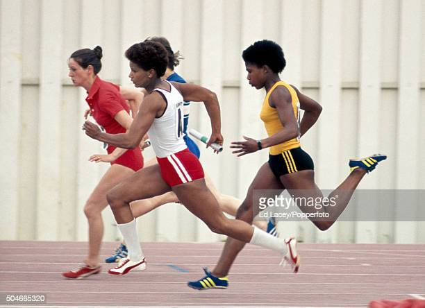 Sharon Colyear takes over from Sonia Lannaman in the women's 4x100 metres relay event during the Olympic trials at Crystal Palace in London on 11th...