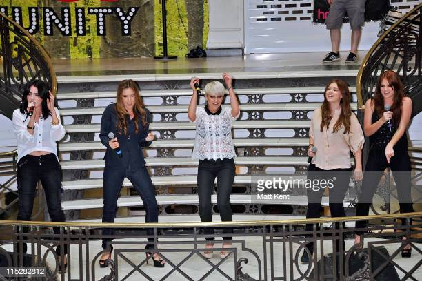 Sharon Condon Jodi Albert Kasey Smith Leigh Learmont and Corrina Durran of Wonderland perform at HMV Bayswater on June 6 2011 in London England