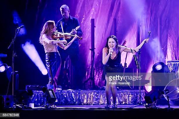 Sharon Corr and Andrea Corr of the Irish band The Corrs perform live during a concert at the Mercedes-Benz Arena on May 27, 2016 in Berlin, Germany.