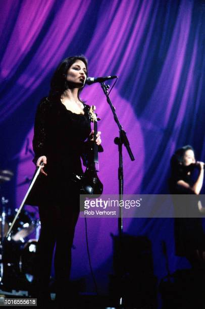 Sharon Corr of The Corrs performs on stage at Ahoy, Rotterdam, Netherlands, 2nd December 1995. They were supporting Celine Dion.