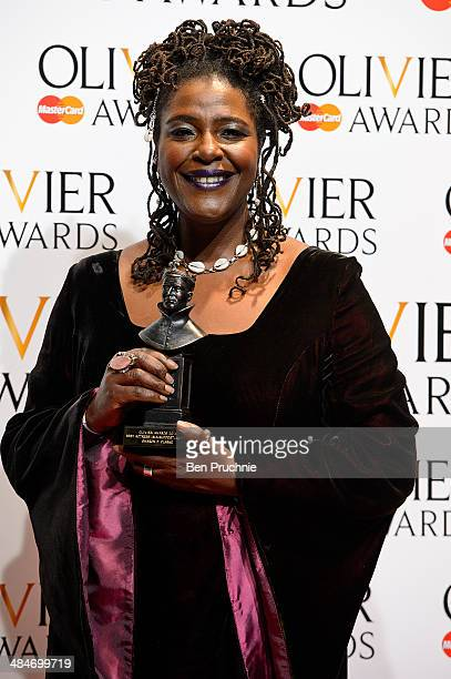 Sharon D Clarke poses for photographers in the press room at the Laurence Olivier Awards at The Royal Opera House on April 13 2014 in London England