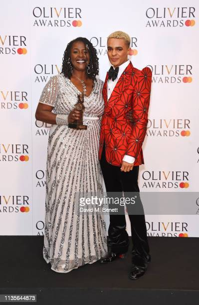Sharon D Clarke winner of the Best Actress in a Musical award for 'Caroline Or Change' and Layton Williams pose in the press room at The Olivier...