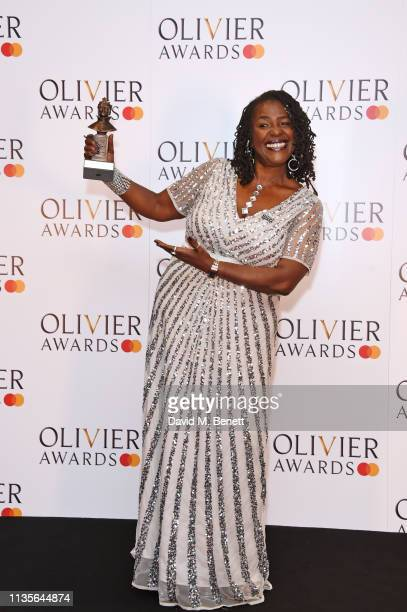 Sharon D Clarke winner of the Best Actress in a Musical award for Caroline Or Change poses in the press room at The Olivier Awards 2019 with...