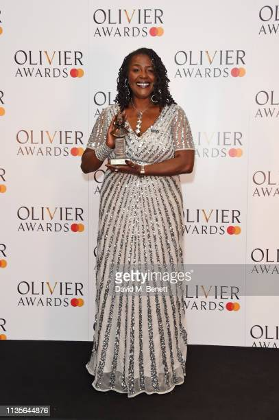 Sharon D Clarke winner of the Best Actress in a Musical award for 'Caroline Or Change' poses in the press room at The Olivier Awards 2019 with...