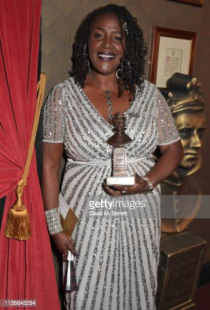 Sharon D Clarke winner of the Best Actress in a Musical award for 'Caroline Or Change' attends The Olivier Awards 2019 with Mastercard at The Royal...