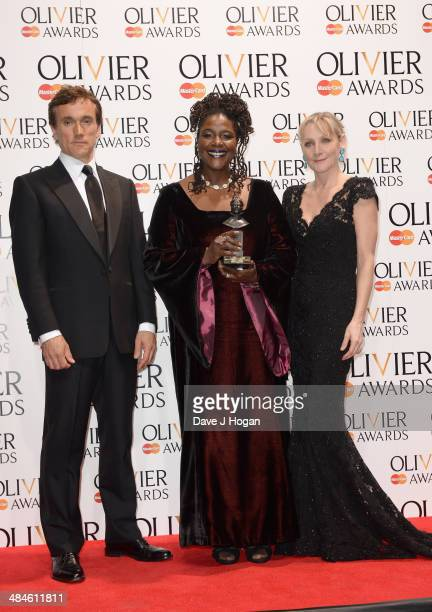 Sharon D Clarke with her Best Actress in a Supporting Role award for The Amen Corner with award presenters Ben Miles and Lesley Sharp during the...
