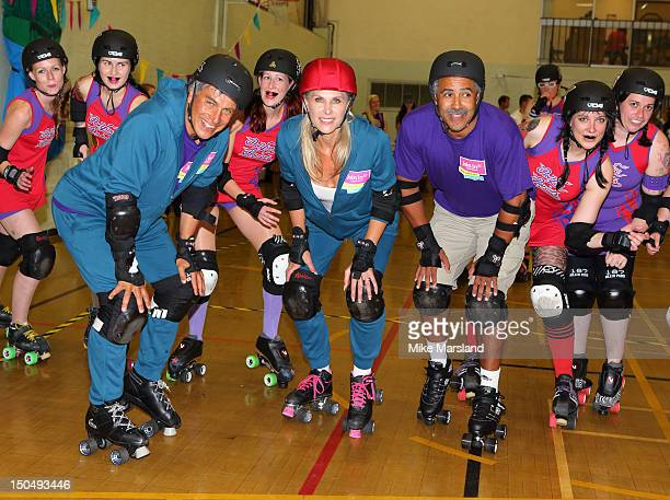 Sharon Davies John Inverdale and Daily Thompson joins in Hellfire Harlots Roller Derby Team part of Join In Local Sport Weekend on August 18 2012 in...