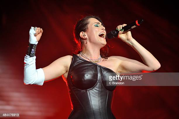 Sharon den Adel of Within Temptation performs on stage at Wembley Arena on April 12 2014 in London United Kingdom