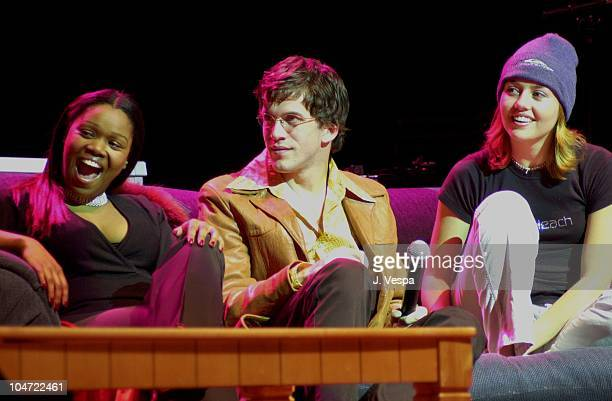 Sharon Gitau Dan Renzi and Julie Stoffer during The Real World Reunion Tour at Beacon Theatre in New York City New York United States