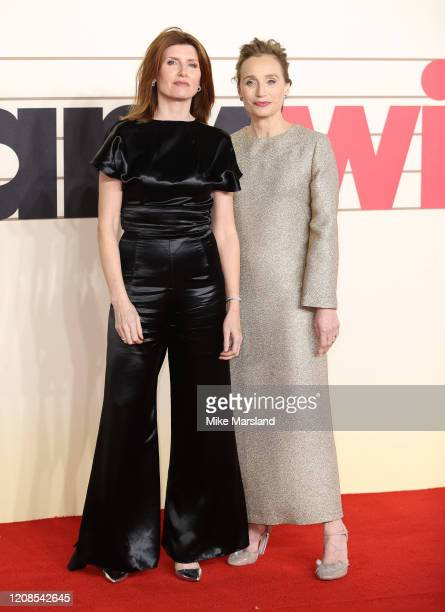 Sharon Horgan and Kristin Scott Thomas attend the Military Wives UK Premiere at Cineworld Leicester Square on February 24 2020 in London England