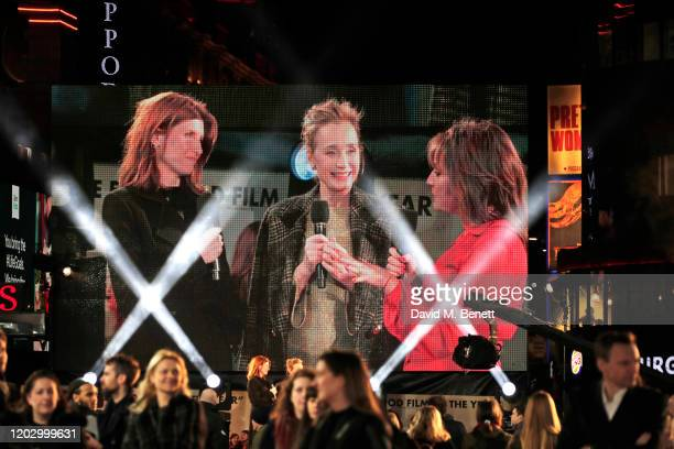 Sharon Horgan Dame Kristin Scott Thomas and Lorraine Kelly appear on the big screen at the UK Premiere of Military Wives at at The Cineworld...