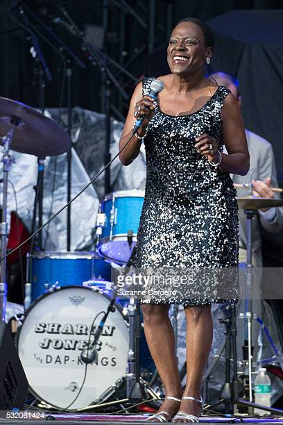 Sharon Jones of Sharon Jones and The Dap-Kings performs at the Austin360 Amphitheater on May 17, 2016 in Austin, Texas.