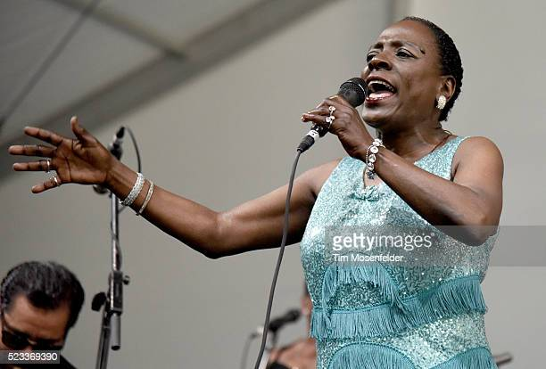 Sharon Jones of Sharon Jones The Dap Kings performs during the 2016 New Orleans Jazz Heritage Festival at Fair Grounds Race Course on April 22 2016...