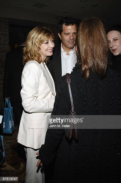 Sharon Lawrence and Dr Tom Apostle talk with friends in the lobby of the Geffen Playhouse for the Backstage at the Geffen's Annual Gala on May 1 2006...