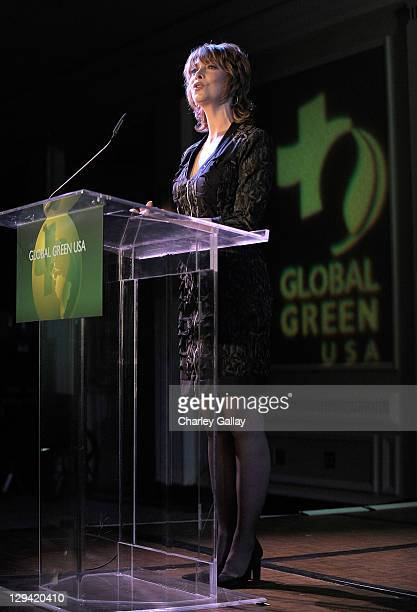 Sharon Lawrence speaks onstage during Global Green USA's 14th annual Millenium Awards held at the Fairmont Miramar Hotel on June 12 2010 in Santa...